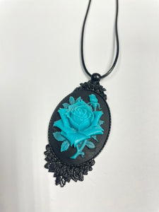Black and Teal Rose Cameo Necklace