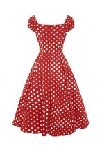 Load image into Gallery viewer, Dolores Red polka dot 50s Swing Dress