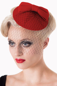 Bow Mini Hat Fascinator Red