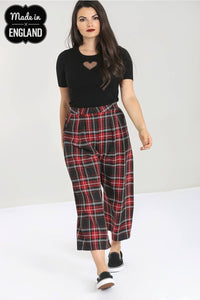 Red and Black Tartan Culottes Made in the Uk