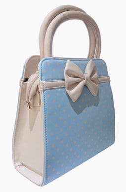 Carla Polkadot Bow Bag Blue and Cream