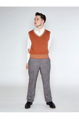 Euston Knitted 40's 100% cotton Vest Camel