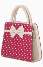 Load image into Gallery viewer, Carla Polkadot Bow Bag Rose Red and Cream