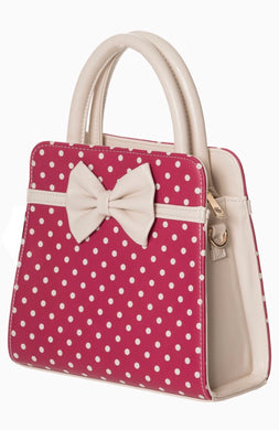 Carla Polkadot Bow Bag Rose Red and Cream