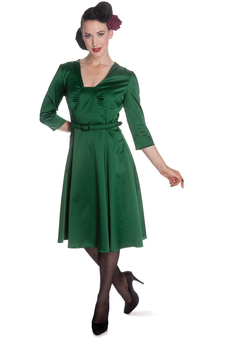 Emerald Green Satin Belted 1930s/1940s Dress