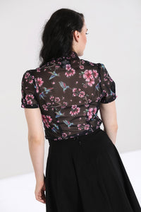 Madison Flowers and Humming Bird Blouse
