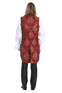 Red and Gold Brocade Tailed waistcoat