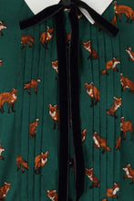 Load image into Gallery viewer, Vixey Forest Green fox print mini dress
