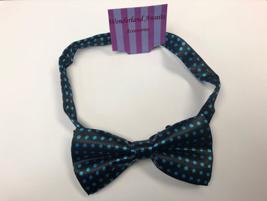 Black and Aqua Blue Polkadot Satin Bow Tie