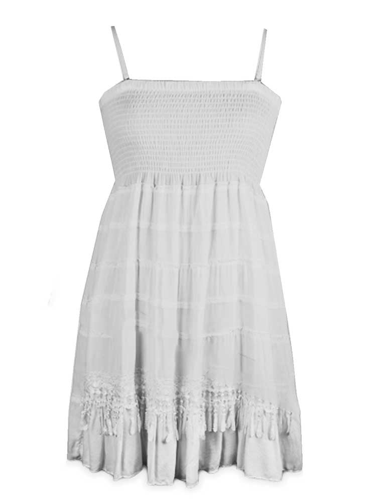 Cotton sundress with Shirred bodice White