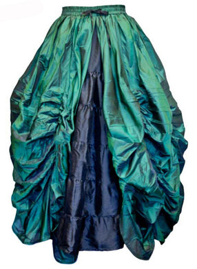 Gothic ruched Taffeta Skirt Green and Black
