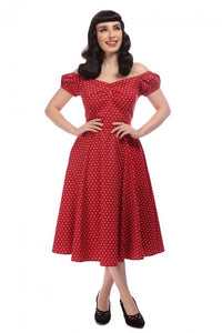Dolores Red Heart polkadot Dress