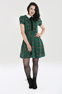 Vixey Forest Green fox print mini dress
