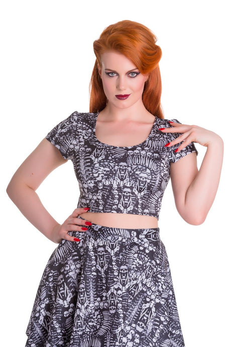 Malice Skull Print Stretch Crop Top SALE WAS £22 NOW £9