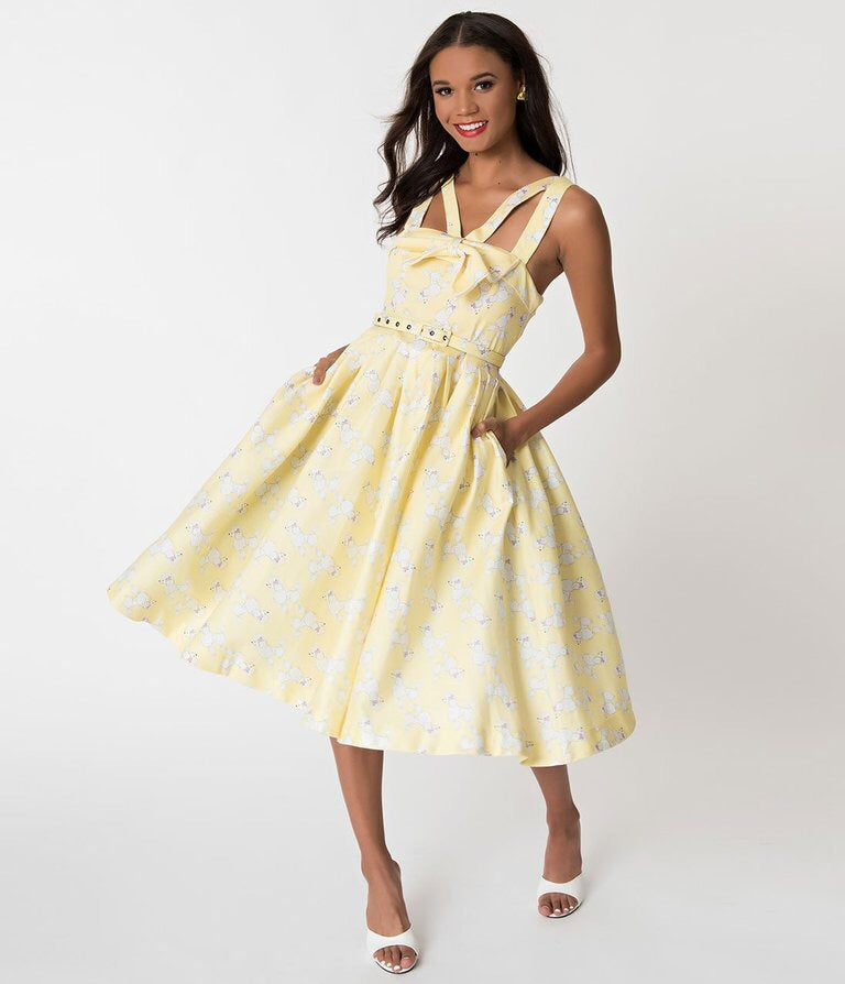 Janie Bryant For Unique Vintage Yellow & Poodle Print Beverly Swing Dress