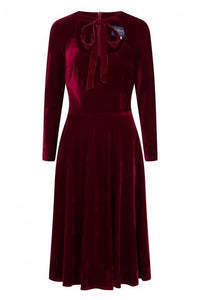 Clara Wine Velvet Swing Dress