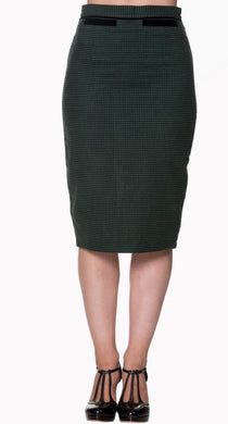 Houndstooth Classic Pencil Skirt Green and Black