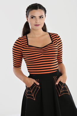 Warlock Black and Orange Striped Top