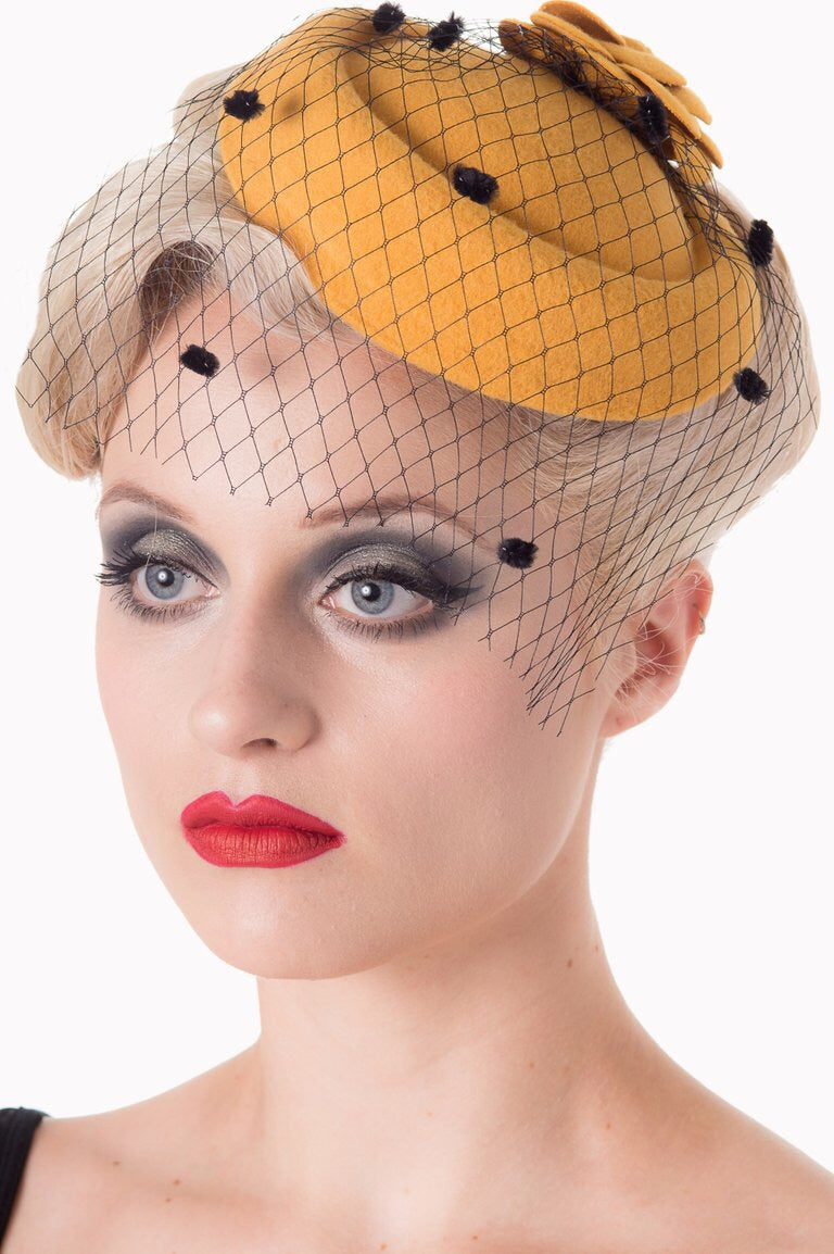 Felt Flower Mini Hat Fascinator Mustard