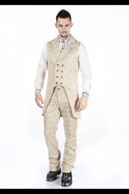 Cream Brocade long tailed Steampunk Waistcoat