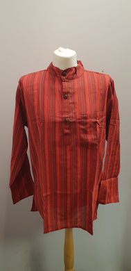 100% Cotton long Sleeve Striped Grandad Collar Shirt. Red/Orange FAIRTRADE