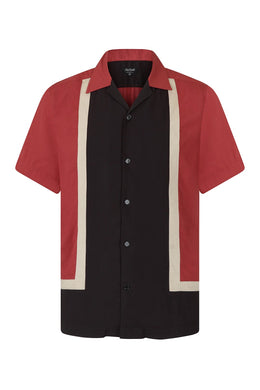 Walter Contrast Red and Black Bowling Shirt