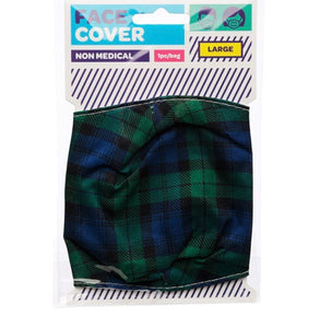 Black watch green and blue Tartan reusable Mask Face Covering