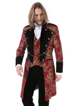 Load image into Gallery viewer, Red and Gold Brocade Gothic / Steampunk Mid Length Coat