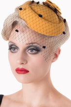 Load image into Gallery viewer, Felt Flower Mini Hat Fascinator Mustard