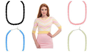 Collectif Retro glass bead necklace