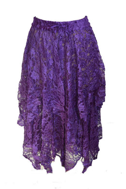 Purple Lace Elasticated Gypsy Skirt