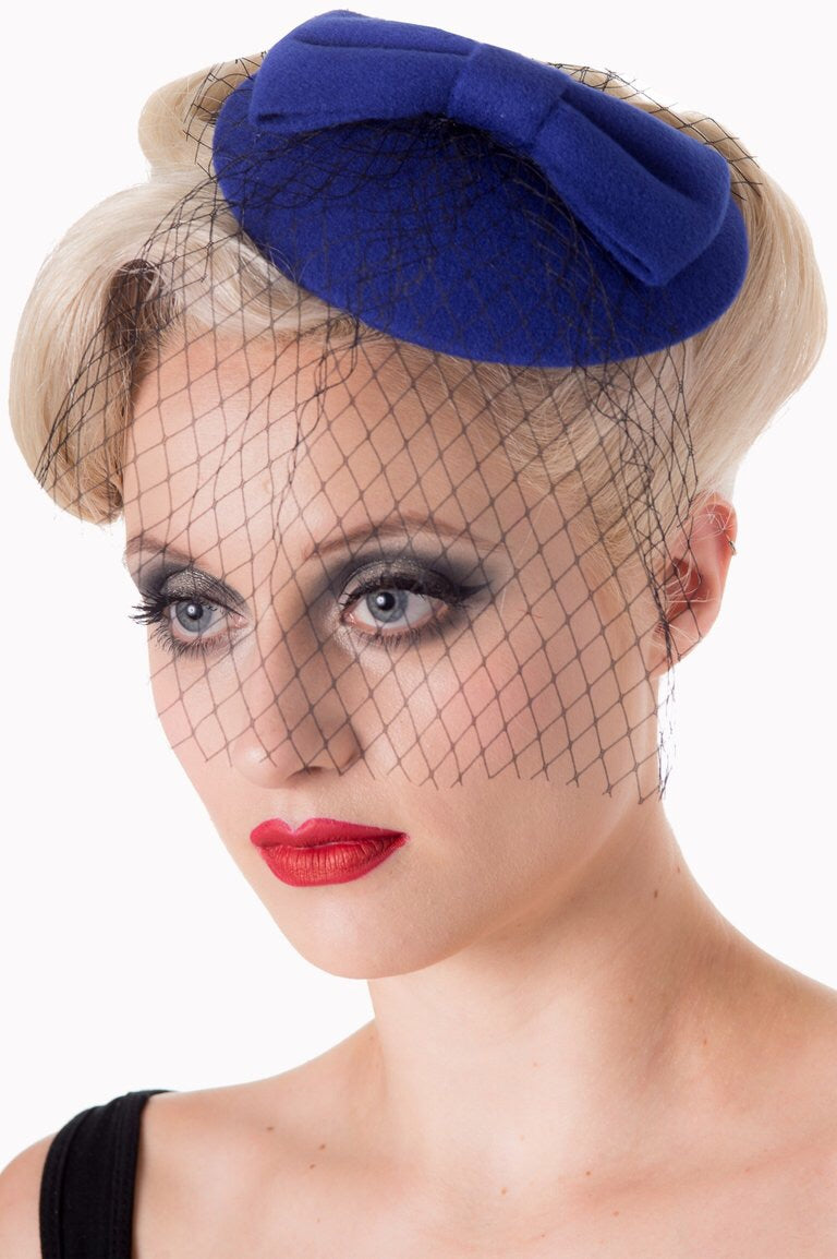 Felt Bow Mini Hat Fascinator Royal Blue