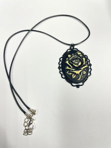 Black and Cream Rose Cameo Necklace