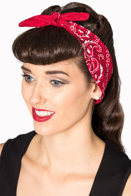 Traditional Paisley Patterned Bandana Red