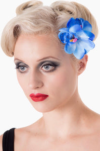 Double Orchid Blossom Hair Clip Blue