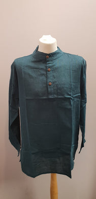 Cotton Khaddar 100% Cotton Long Sleeve Grandad collar shirt Turquoise Blue. FAIRTRADE