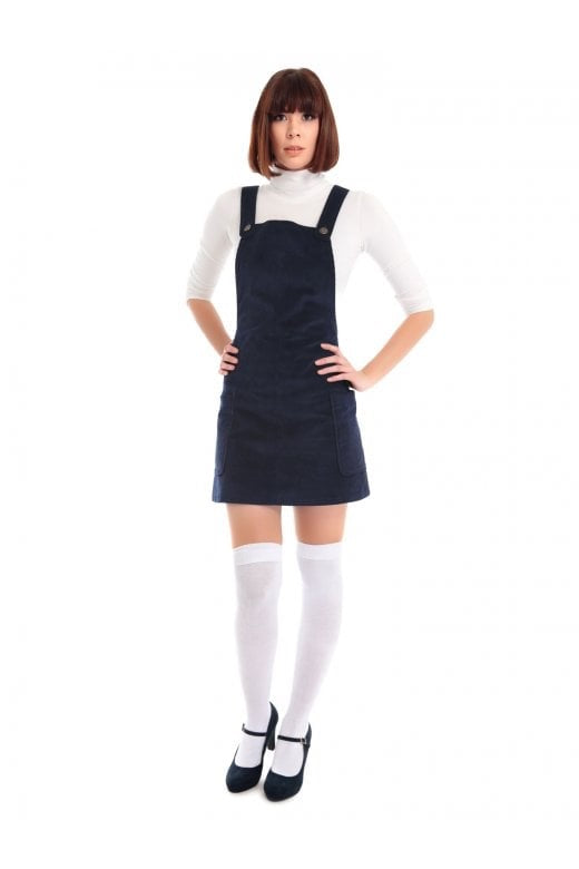 Blue Retro Pinafore Mini Dress