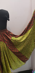 Elasticated Gypsy Skirt made with repurposed silk sari fabric. (green/red shells and paisley) FAIRTRADE