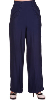 Full Moon Navy High waisted Trousers