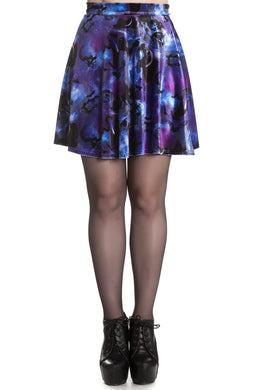 Orpheus Purple Galaxy Velvet Skater Skirt
