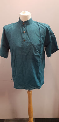 Cotton Khaddar 100% Cotton Short Sleeve Grandad collar shirt Turquoise Blue . FAIRTRADE