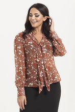 Load image into Gallery viewer, Madeline 40s Style Brown floral Blouse