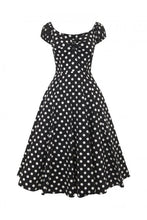 Load image into Gallery viewer, Dolores Black polka dot 50s Swing Dress