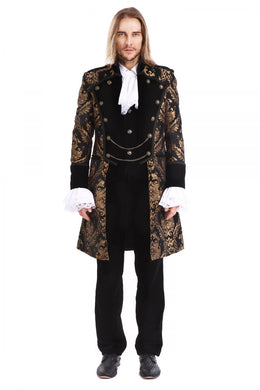 Gold and Black Brocade Gothic / Steampunk swallow Tail Coat