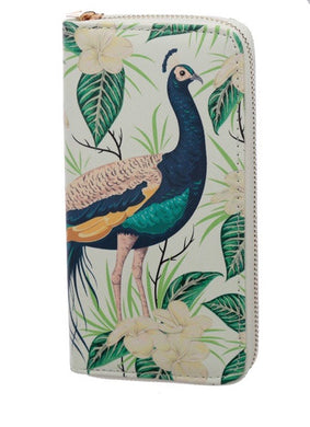 Peacock Zip Around Large Wallet Purse