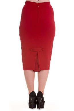 Classic Pinup Pencil Skirt Red