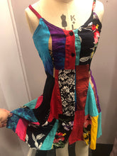 Load image into Gallery viewer, Rainbow Patchwork Button-down Mini Dress Small  (various colours available)