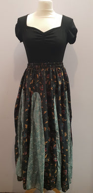 Elasticated Gypsy Skirt made with repurposed silk sari fabric. (Black with autumnal floral) FAIRTRADE