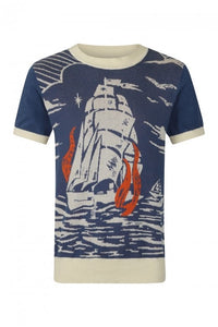 Bobbie Nautical Ship 40's Knit Jumper