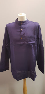 Cotton Khaddar 100% Cotton Long Sleeve Grandad collar shirt Indigo Blue . FAIRTRADE